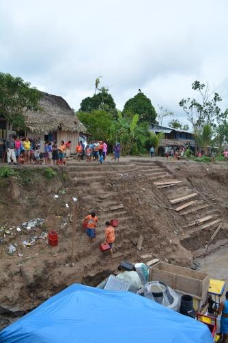 Cargo stop at a village