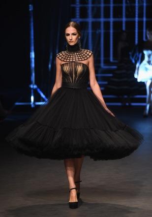 DUBAI, UNITED ARAB EMIRATES - OCTOBER 21: A model walks the runway at the Ezra show during Fashion Forward Spring/Summer 2017 at the Dubai Design District on October 21, 2016 in Dubai, United Arab Emirates. (Photo by Stuart C. Wilson/Getty Images)